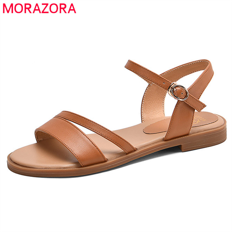 MORAZORA 2020 New Arrive Women Sandals Solid Colors Genuine Leather Footwear Buckle Summer Casual Shoes Ladies Flat Sandals