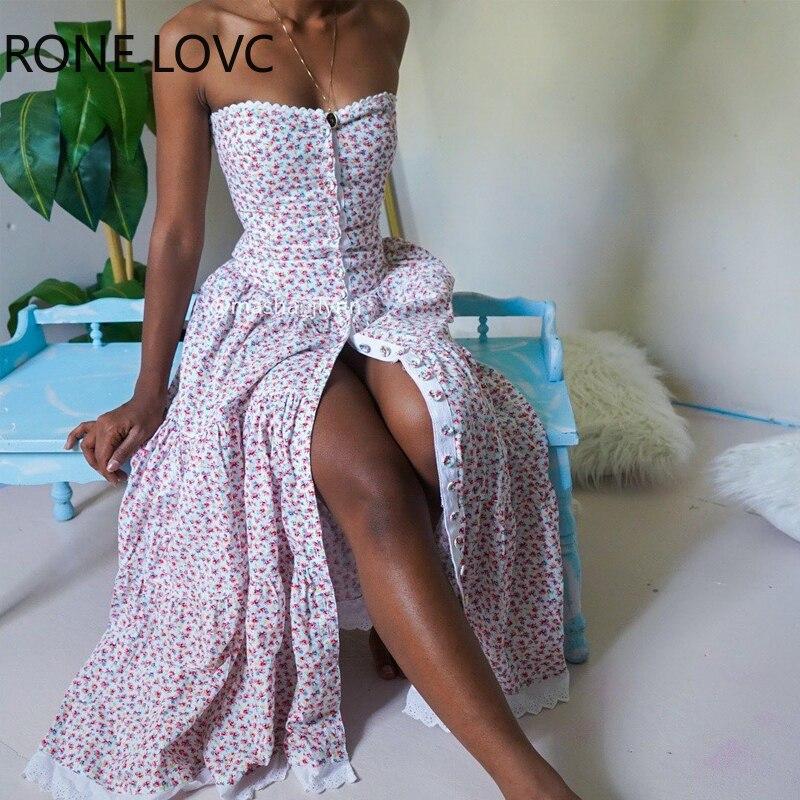 Women Sexy Floral Print Bandeau Lace Trim Buttoned Maxi Dress Party Elegant Fashion Chic Dress