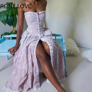 Women Sexy Floral Print Bandeau Lace Trim Buttoned Maxi Dress Party Elegant Fashion Chic Dress floral print frill trim dress