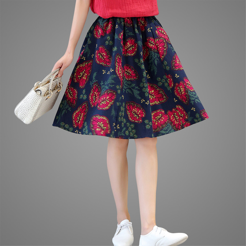 2019 Summer New Style WOMEN'S Dress Retro Folkway Pure Cotton Printed Half-length Puffy Big Skirt Fresh Versatile Sun Dress