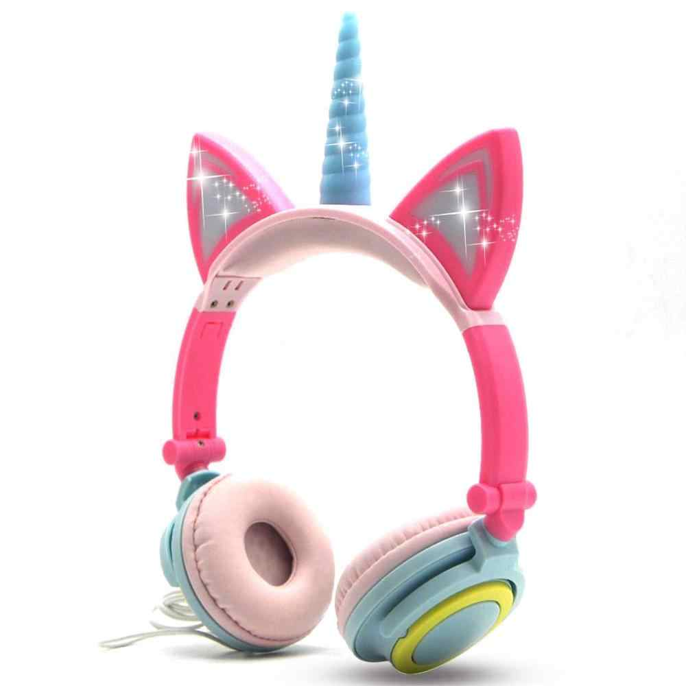 Wired Foldable Flashing Unicorns Kids Headphones With Led Light Earphone For Mobile Phone Pc Computer Boys Girls Gaming Headset Aliexpress