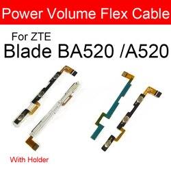 100% genuíno volume de energia lado botão cabo flexível para zte lâmina a520 ba520 power & volume lado teclados interruptor peças reposição