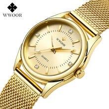 Часы wwoor женские кварцевые люксовые золотистые элегантные
