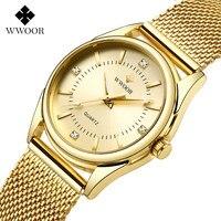 Zegarek Damski Frauen Uhren WWOOR Top Luxus Gold Quarz Uhr Damen Goldene Mesh Elegante Armband Uhr Frauen Relogio Feminino