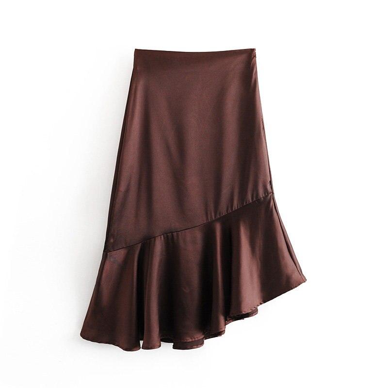 2019 Autumn New Style Western Style A Satin Textured Flounced Irregular Skirt