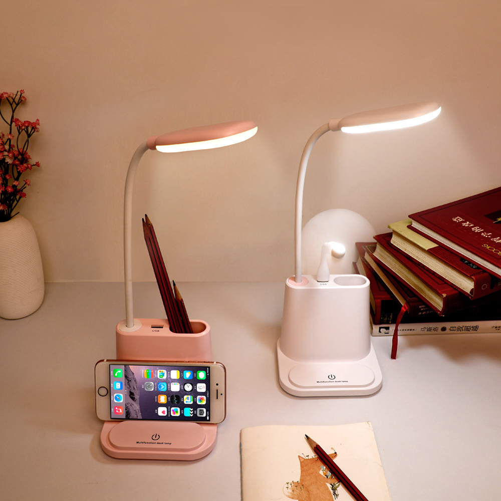 USB Rechargeable LED Desk Lamp Touching Dimming Adjustment Table Lamp Phone Holder Reading Light With Fan Brush Pot Lamp