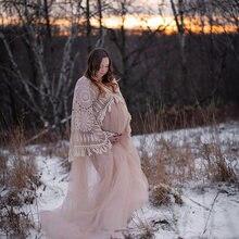 Костюм для беременных в стиле бохо с длинным рукавом Макси Тюлевое
