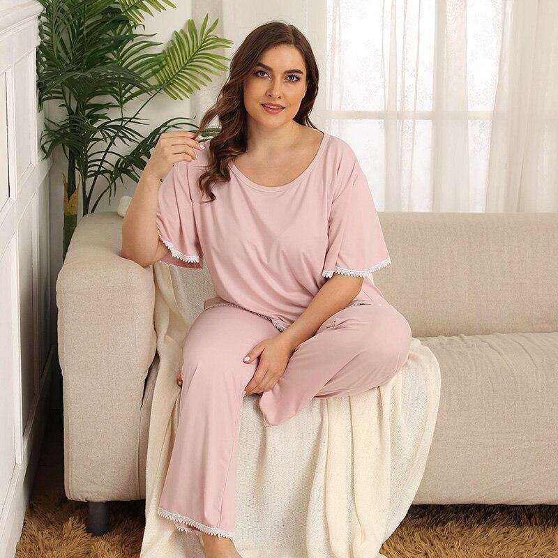 Wipalo Summer Women Plus Size Lace Trim Pink Sweet Casual Sleepwear Sleep Shirt +Pants Set Loose O-Neck Short Sleeve Pajama Sets