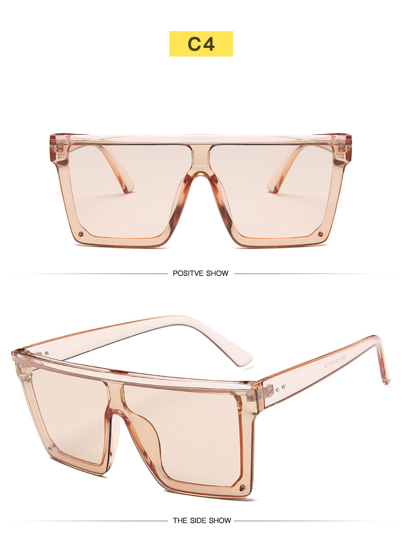 Oversized Square Sunglasses Women 2019 Luxury Brand Fashion Flat Top Red Black Clear Lens One Piece Men Gafas Shade Mirror UV400 (10)