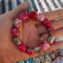 Natural Jade Bracelet Men and Women  Red Green Crystal