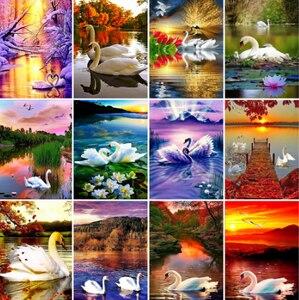 Yikexin Алмазная картина, полностью круглая лебедь, алмазная вышивка, мозаика для животных, распродажи, стразы, художественное украшение для до...