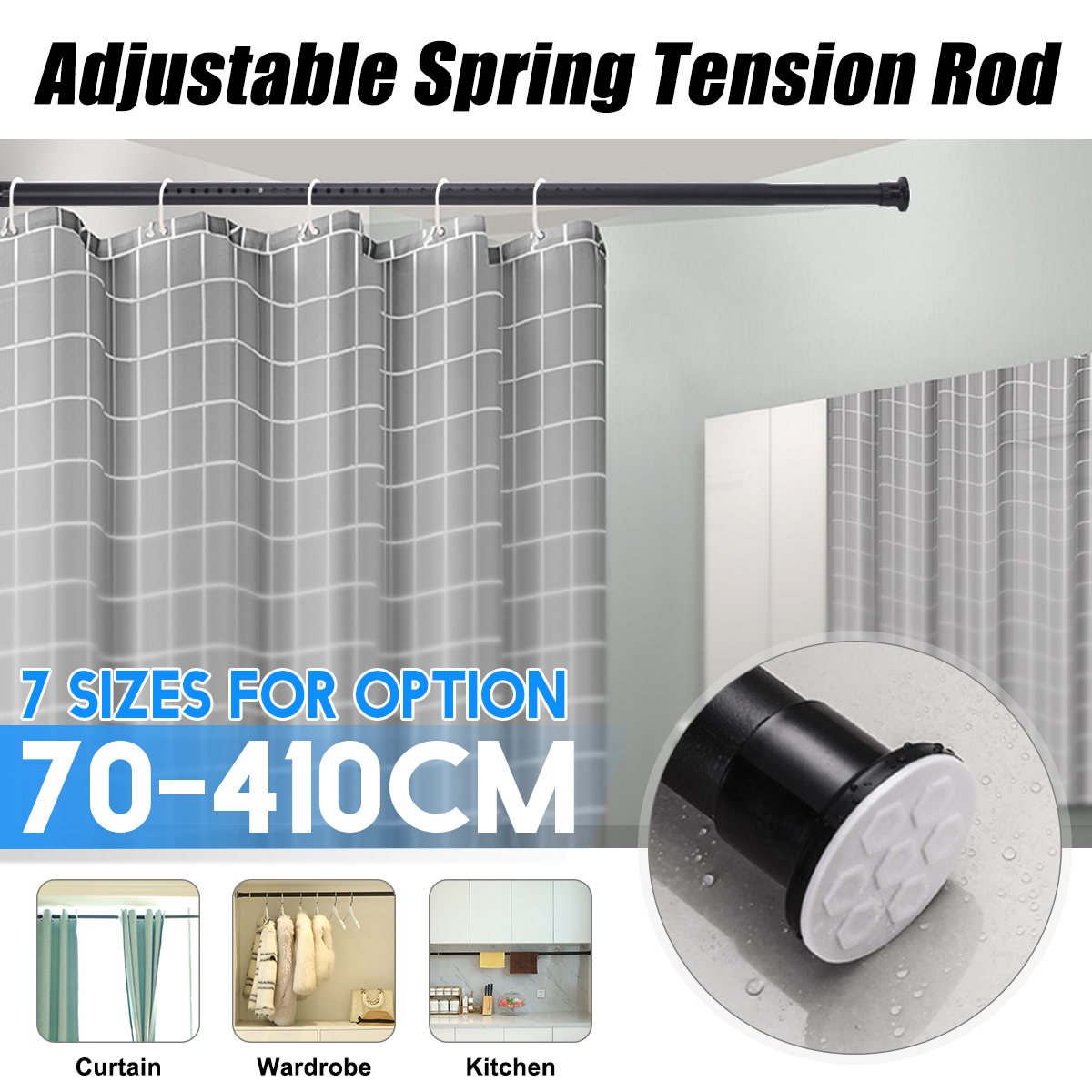 70CM to 410CM 7 sizes Shower Curtain Rod Adjustable Stainless Steel Spring Tension Rod Rail for Clothes / Towels / Curtains