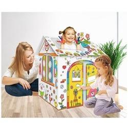Детский Супер DIY сборный картонный бак/самолет/Самолет/автомобиль/дом с 12 цветами карандаш для рисования игрушки/Дети DIY Искусство ремесло и...