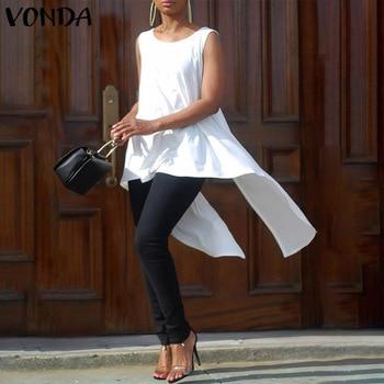VONDA Women Tops Asymmetric Party Shirts Long Blouse 2020 Summer Tops Beach Tunic Casual Loose Bohemian Blusas Plus Size цена 2017