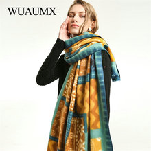 Wuaumx NEW Winter Scarf For Women Thick Warm Cashmere Patchwork Pattern Women's Scarves Ladies Wraps and Shawls Poncho Cape