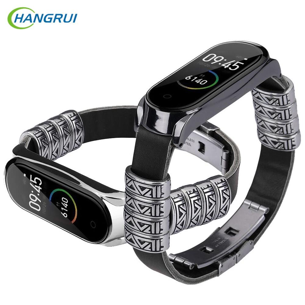 Mi Band 4 Strap Luxury Genuine Leather Retro Watch Band Bracelet For XiaoMi Mi band 4 Band4 Wristband Pulseira Accessories