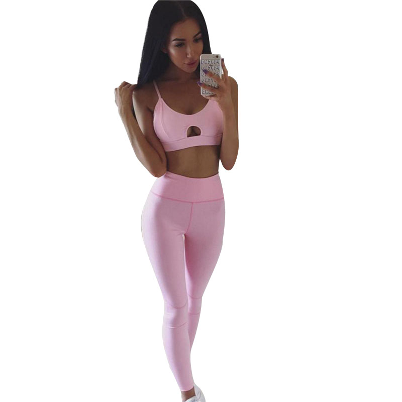 New Women Tracksuit Sports Suit Fitness Gym Clothing 2 Piece Set Sexy Running Bras Leggings