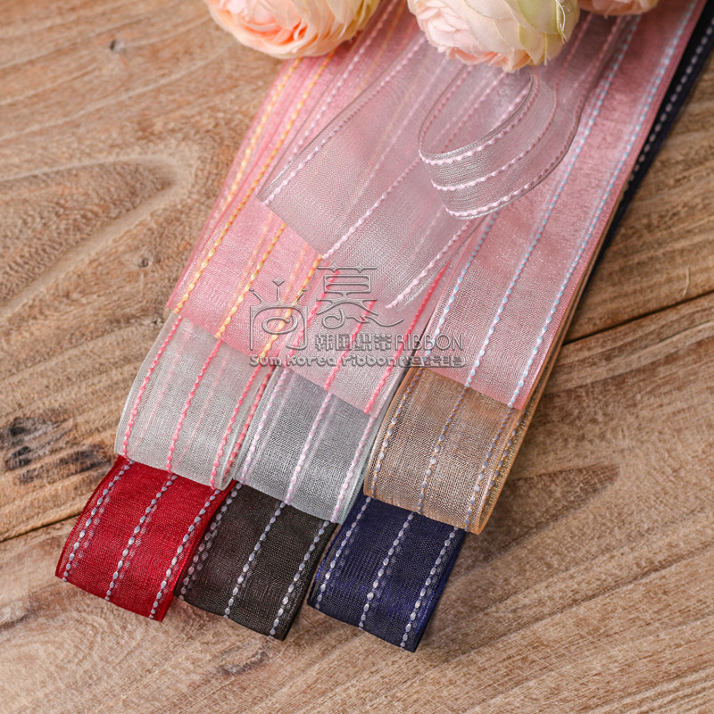 100yards 10 16 25 40mm stitched stripes organza sheer ribbon for bouquet flower packing bow wedding party craft supplies in Ribbons from Home Garden