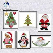 Joy Sunday Merry Christmas наборы для вышивки крестом 14CT узор DMC с принтом Китайская вышивка набор для рукоделия украшения для дома наборы