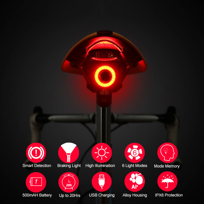 Bicycle Braking Light 7 Modes Rear Visual Warning COB LED Lamp Optional Seatpost Saddle Mount Smart Control USB Charge Lantern