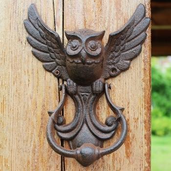 Best Offer Ca99 Rustic Owl Cast Iron Door Handle Farm House Accents Heavy Metal Flying Owl Figurines Door Handle Iron Wall Shelves Cicig Co