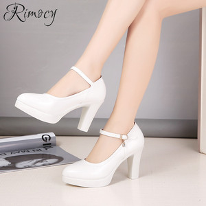 Image 4 - Rimocy high heels platform pumps mujer 2019 spring new fashion buckle solid black shoes woman PU leather waterproof shoes femme