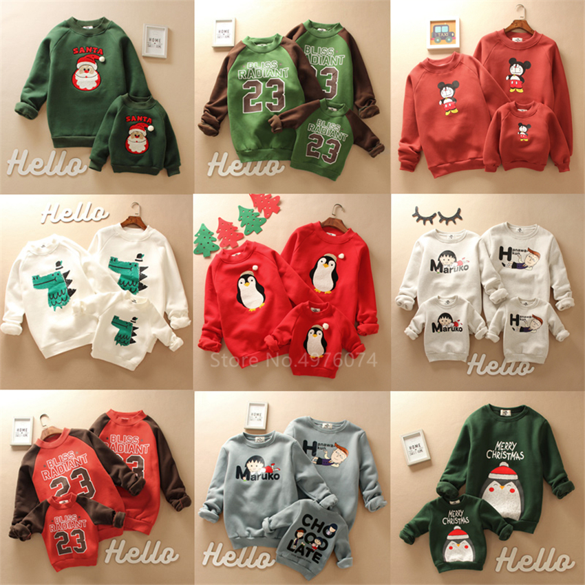 Parent-Child 2019 New Year Family Christmas Sweaters Xmas Pajamas Warm Santa Claus Elk Baby Girl Boy Adult Kids Sweatshirt Gift