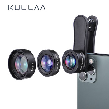 KUULAA 4K HD Cell Phone Camera Lens Kit 3 in 1 Wide Angle lens Macro Fisheye Lenses For iPhone 11 Pro Max Huawei P20 Pro Samsung