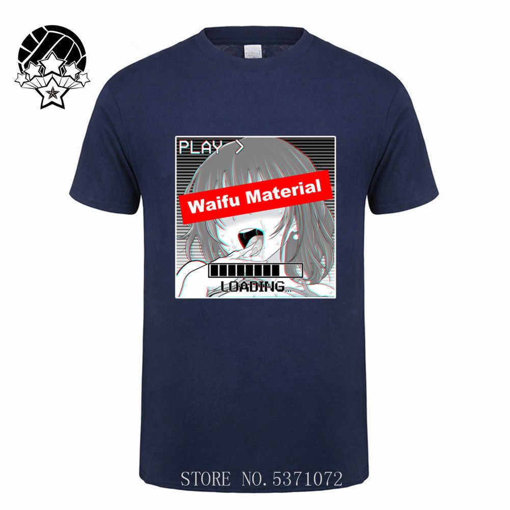 Waifu Materiaal Grappige Ahegao Gezicht Meisje mannen T-Shirt 2020 Anime Gezicht En Neko Meisje Cosplay Tee Nieuwe Unisex Grappig Tops tee Shirt