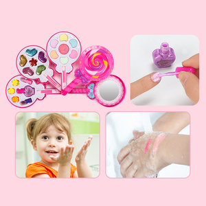 Image 2 - Çocuklar makyaj oyuncak seti oyna Pretend prenses pembe makyaj güzellik güvenlik toksik olmayan seti oyuncaklar kızlar soyunma kozmetik kız hediyeler