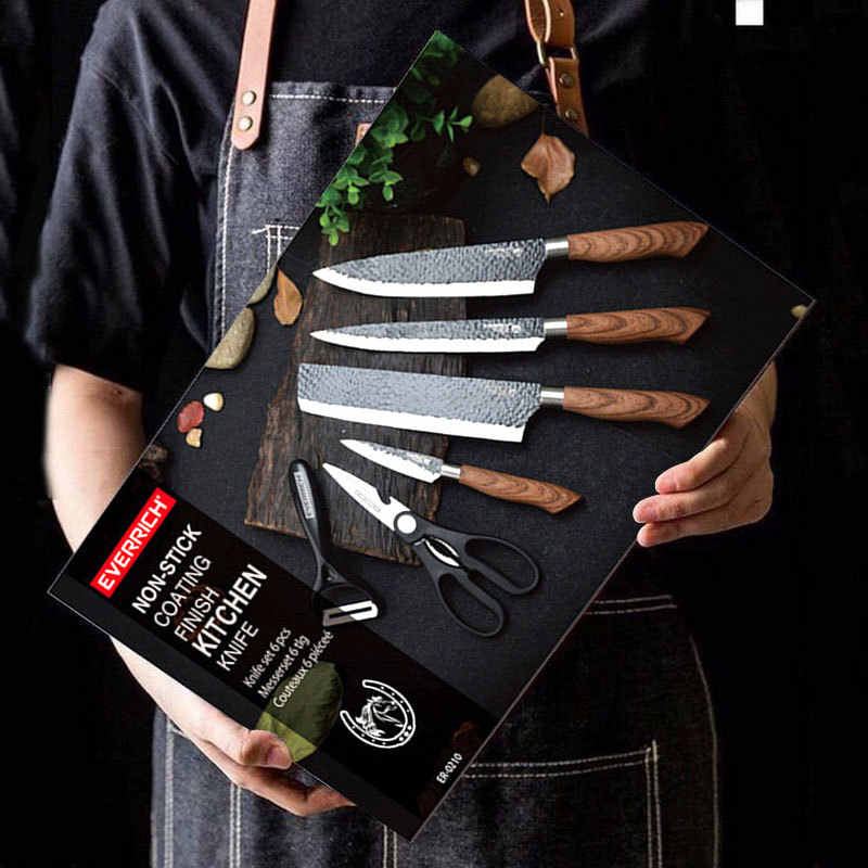 6 Pieces Kitchen Knives Set With Giftbox High Carbon Stainless Steel Forged  Chef Kitchen Knife Set Cooking Paring Cutting Slicer|Knife Sets| -  AliExpress