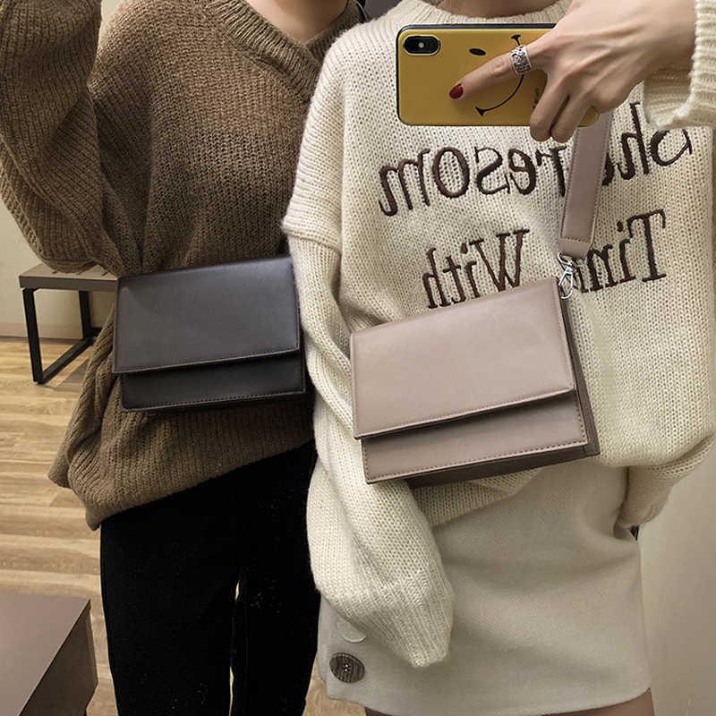 Однотонная квадратная мини-сумка YL с откидной крышкой, новая качественная женская дизайнерская сумка из искусственной кожи, простая Женская дорожная сумка-мессенджер на плечо