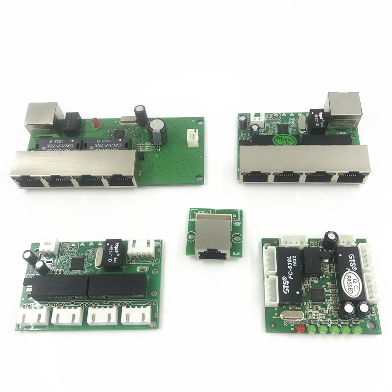 5 Port Ethernet Switch   Circuit Board For Ethernet Switch Module 10/100mbps 8 Port PCBA Board OEM Motherboard  Lan Hub
