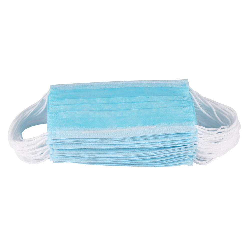 50pcs/box Anti-dust Safe Breathable Mouth Face Mask Medical Dental Disposable Ear Loop Face Surgical Hypoallergenic Masks Blue