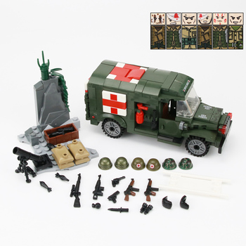 WW2 Military Soldiers US Army Soldiers Figures Building Blocks Wounded soldier Ambulance Weapon Bricks Parts Building Blocks Toy 21pcs machine gun moc weapon pack military accessories blocks city police ww2 soldiers figures bricks parts compatible legoed