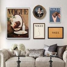 Nórdico moda vintage menina lona poster abstrato rosto linha vogue citação arte da parede impressões fotos minimalista sala de estar decoração