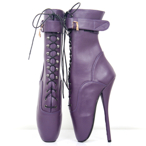 Image 3 - jialuowei Fetish Ballet Boots Women High Heel Spike Black PU Cross Tied Lace Up Mid Calf Spring and Autumn Boots Plus Size 36 46