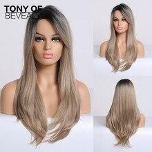 Perruques synthétiques lisses longues de couleur noire à Blonde Ombre avec frange sur le côté, perruques de Cosplay Afo en Fiber résistante à la chaleur