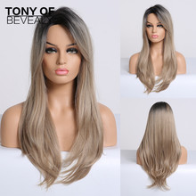Synthetic Wigs Long Straight Black to Blonde Ombre Hair Side Part   With Bangs For Women Afo Cosplay Wigs Heat Resistant Fiber
