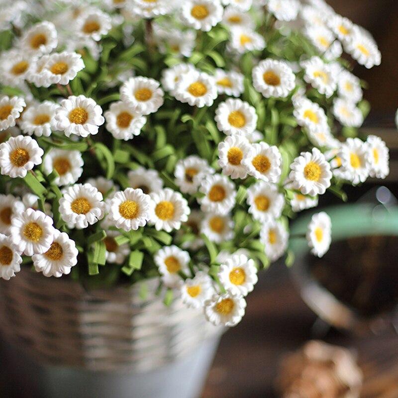 1 палочка, искусственный цветок, маленький цветок маргаритки, Шелковый цветок, искусственные цветы, весеннее украшение, домашний декор, цвет...