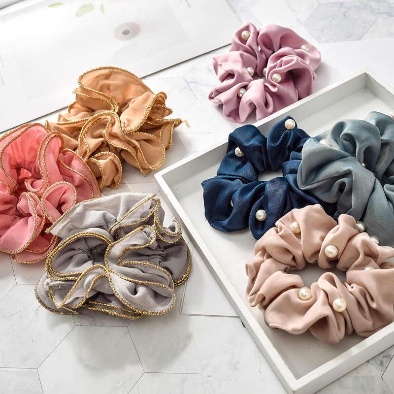 Женские атласные резинки для волос с жемчугом, эластичные ленты для волос, аксессуары для волос, 2019