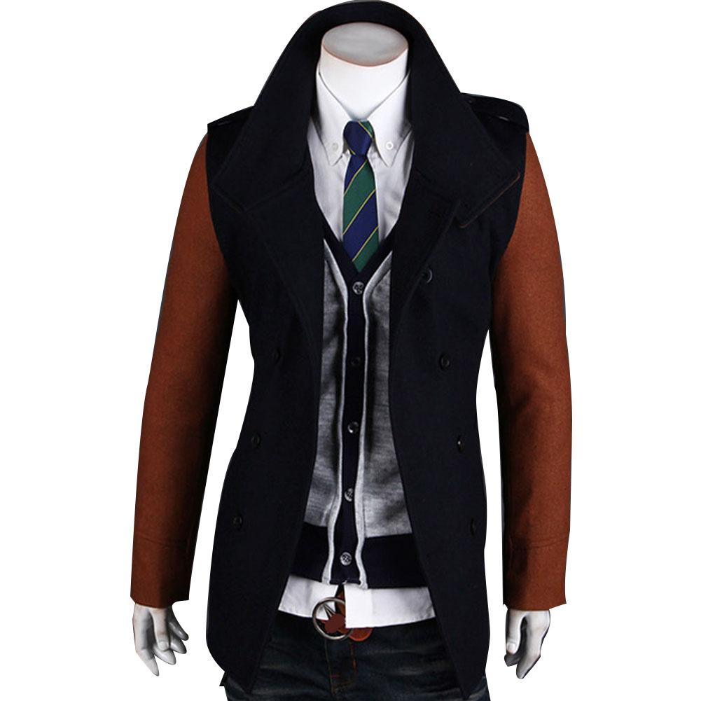 MISSKY Autumn Winter Men   Trench   Double-breasted Coat Fashion Contrast Color Middle Long Lapel Windbreaker Overcoat Male Coat