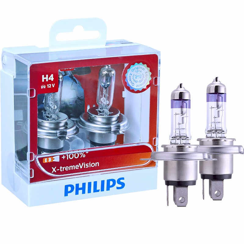 Philips H1 H4 H7 H11 9003 9005 9006 HB3 HB4 X-treme Vision Car Headlight Bright Halogen Bulbs ECE Approve 100% More Vision, Pair