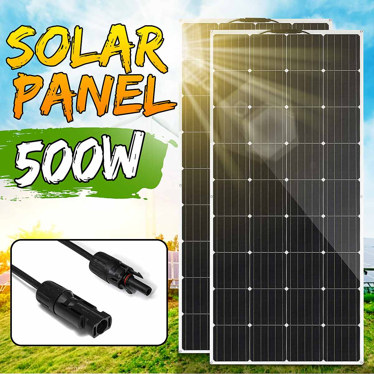 18V Solar Panel 500W/250W Semi-flexible Monocrystalline Solar Cell DIY Cable Waterproof Outdoor Connector Battery Charger