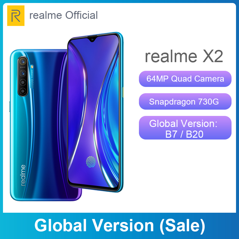Global Version Sales Realme X2 X 2 6.4'' Moblie Phone Snapdragon 730G 64MP Quad Camera NFC Cellphone VOOC 30W Fast Charger