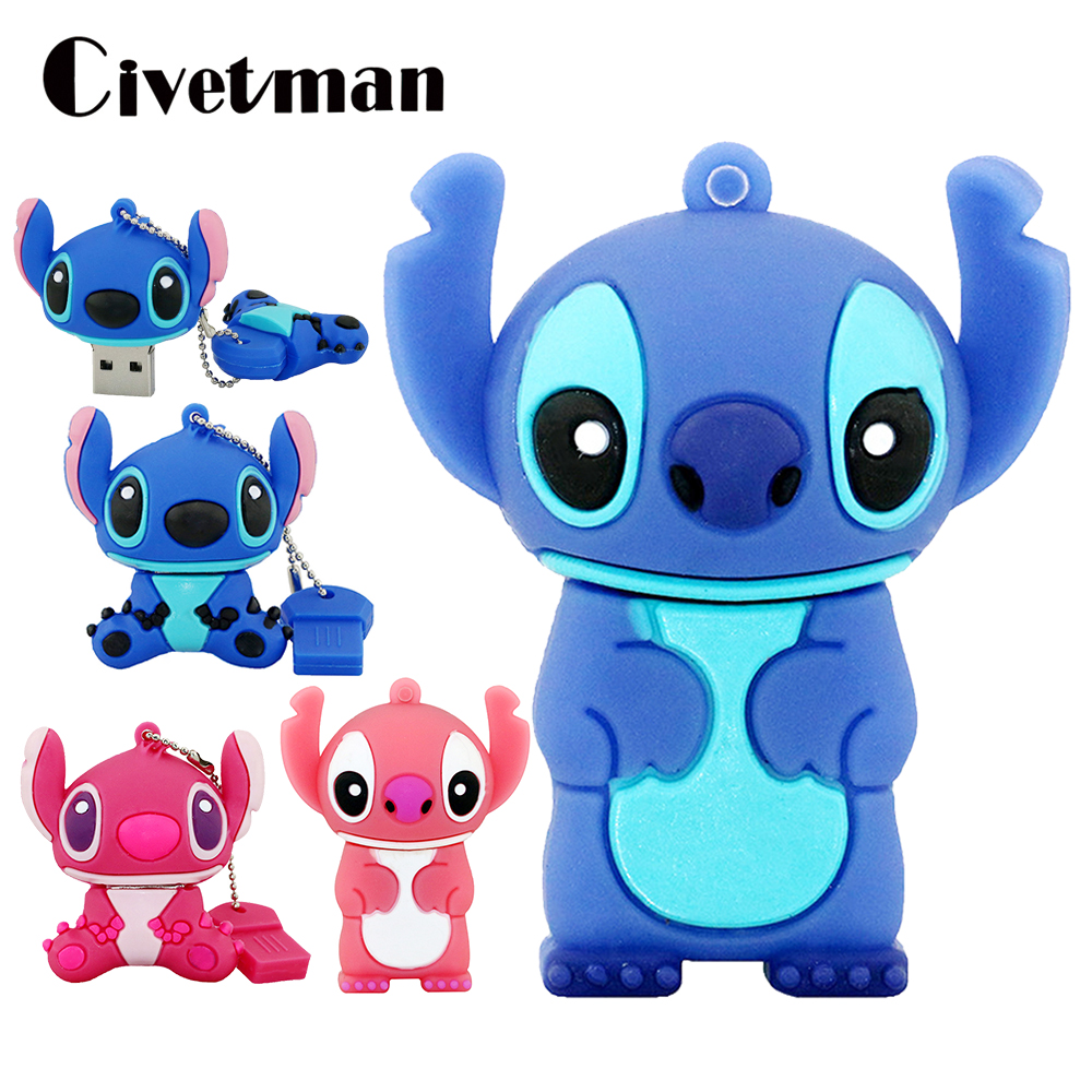 Mini Pen Drive 64GB Cartoon Lovely Stitch USB Flash Drive 256GB USB 2.0 Memory Disk Pendrive 32GB 16GB 8GB Pendrives USB Stick
