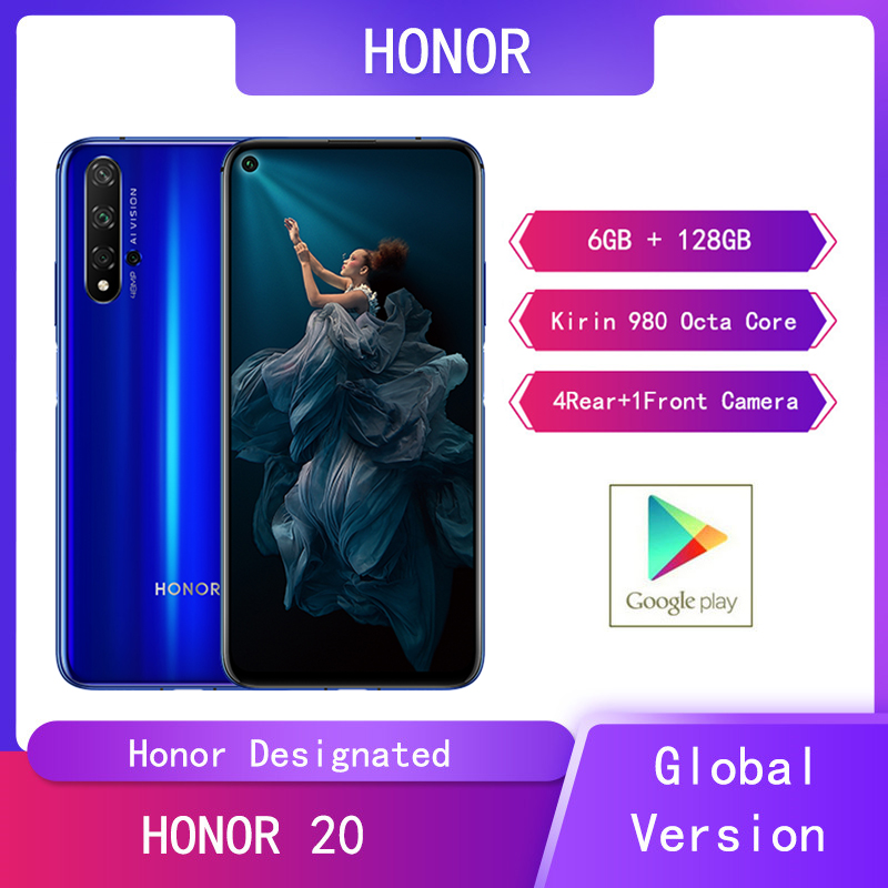"""Huawei Honor 20 6G+128G Mobile Phone Kirin 980 Octa Core 6.26"""" 48MP 4Rear+1Front Camera SuperCharge Smartphone Google Play"""