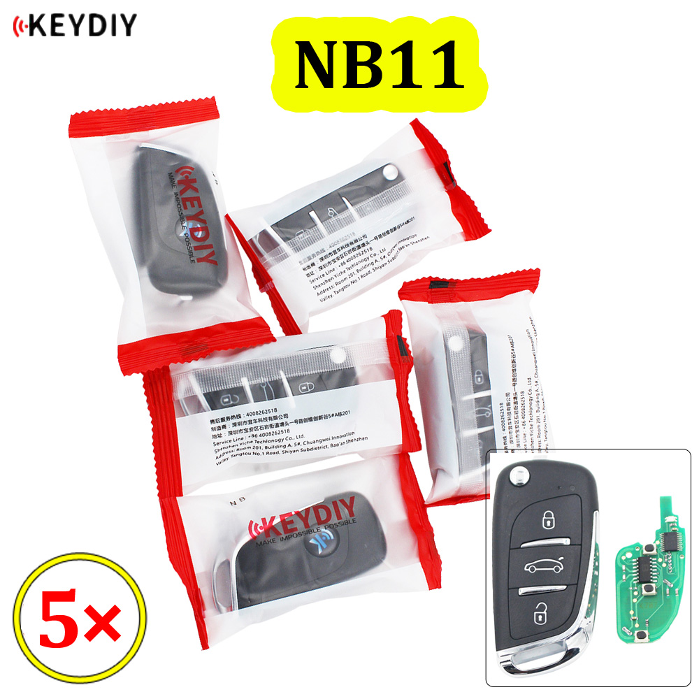 5 шт./лот, универсальный пульт дистанционного управления KEYDIY с 3 кнопками, серия NB, для KD900 URG200, все функции в одном
