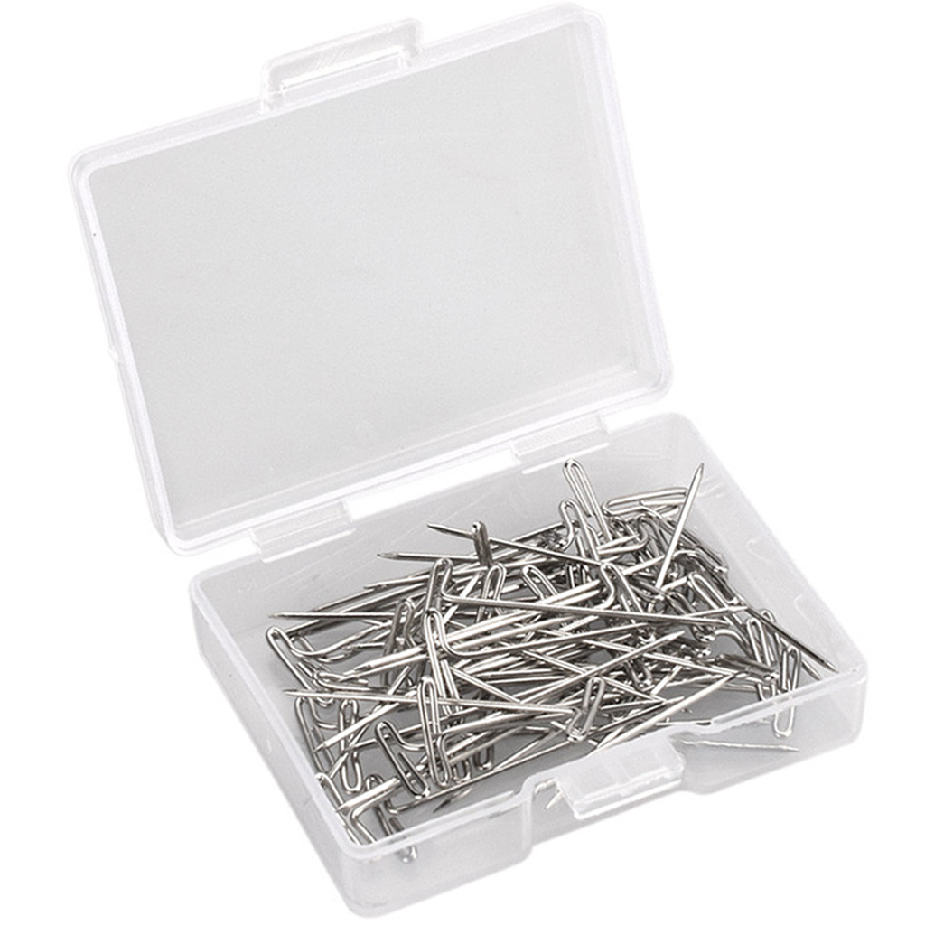 Steel T-pins 1.2 inch for Blocking Knitting, Modelling and Crafts, Wig Making Pins Needles Set, 50 Pieces