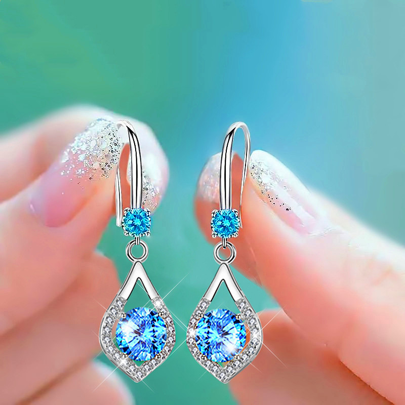 Blue Crystal Round Zircon Water Drop Earrings For Women Wedding Jewelry Vintage Fashion White Stone Silver Color Dangle Earrings